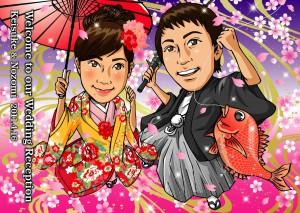加藤様夫妻の似顔絵イラストのウェルカムボード