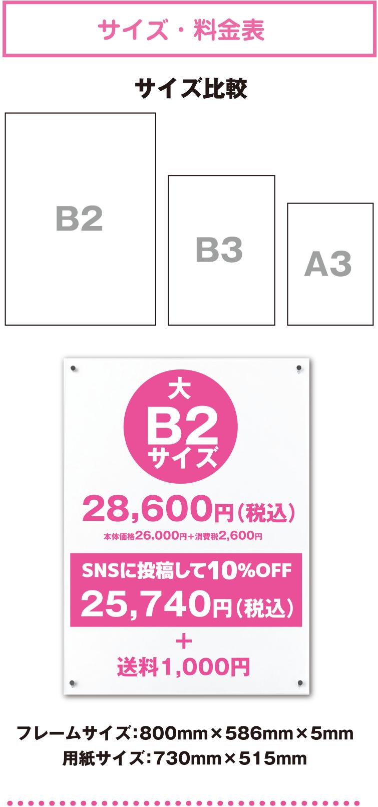 サイズ・料金表-B2サイズ:28,600円(税込)+送料1,000円