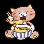 うどんを食べる猫のイラスト