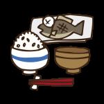 定食(焼き魚)のイラスト
