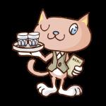 働く猫(カフェ)のイラスト