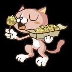 たこやきを食べる猫