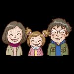 3人家族(女の子)のイラスト