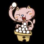 だんごを食べる猫