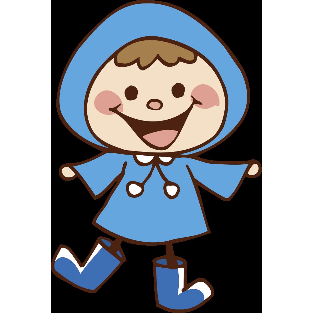 青いレインコート